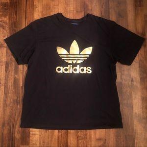 Adidas Black Gold Foil Logo Plus Size XXL T-shirt